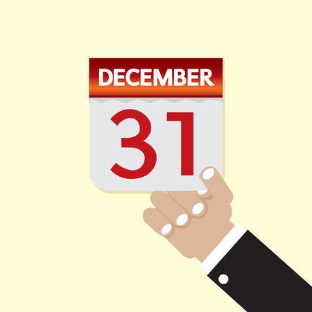 calendario diciembre: 31 de diciembre de ilustración vectorial Calendar Vectores