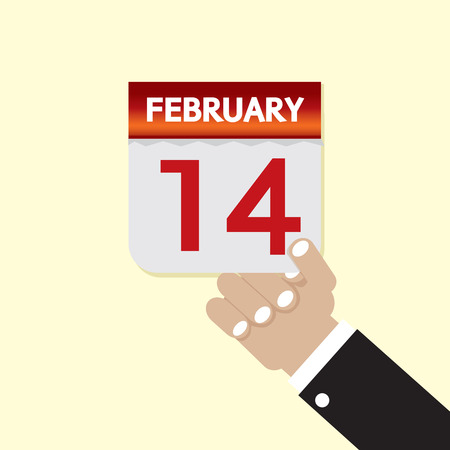 february 14th: 14th February Calendar Vector Illustration