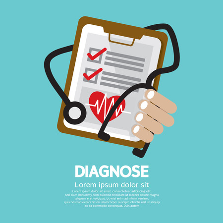 stethoscope heart: Diagnosis Vector Illustration