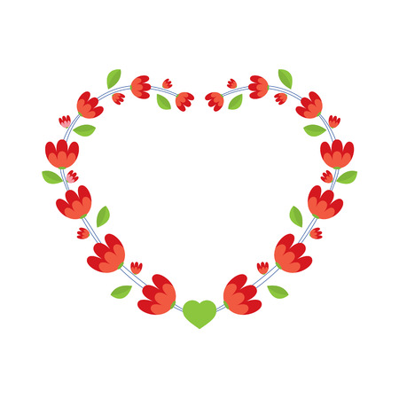 garland border: Red Flowers Wreath Vector Illustration