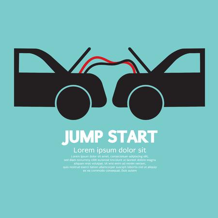 car battery: Jump Start Vector Illustration