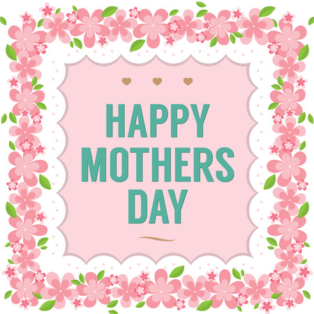 flower font: Happy Mother s Day Vector Illustration
