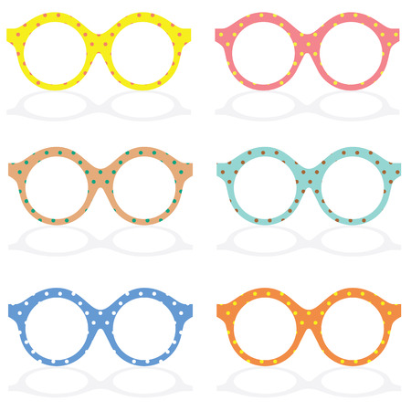 eye wear: Set Of Colorful Eyeglasses