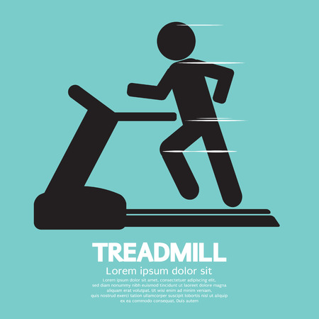 Man Running On A Treadmill Vector Illustration