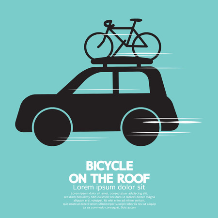 rack wheel: Bicycle On The Roof Illustration