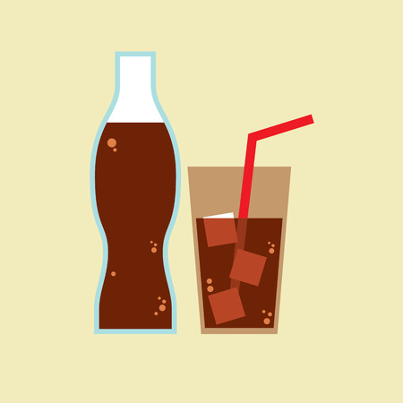 soft drinks: Glass and Bottle of Cola