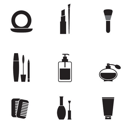 makeup a brush: Cosmetics Icons Set  Illustration