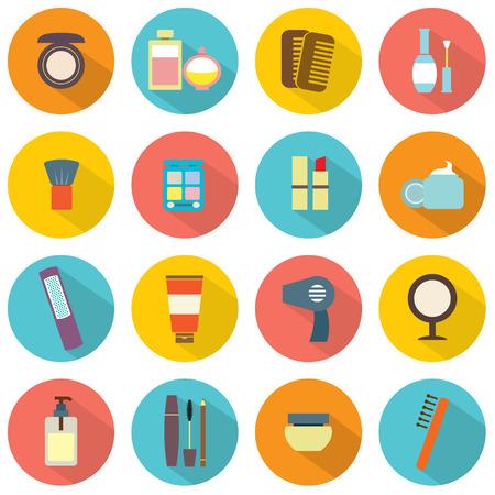 secador de pelo: Diseño plano colorido cosméticos Iconos