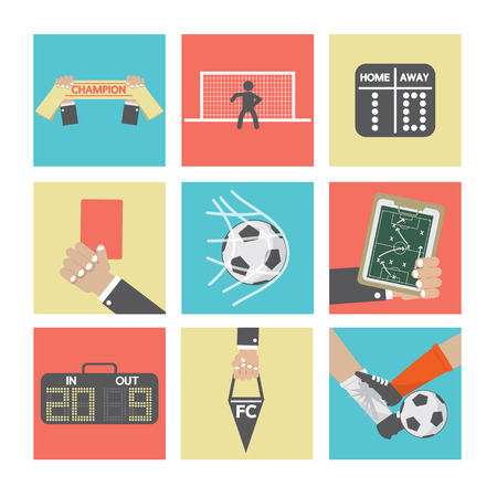 Football or Soccer Icons Set Vector