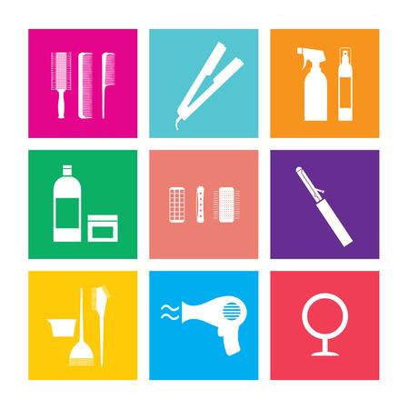 hairstylist: Flat Design Hairdressing Icons Set 9