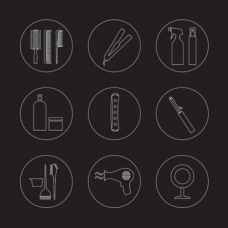 Line Design Hairdressing Icons Set 9 Vector