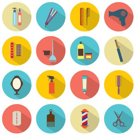 hairstylist: Flat Design Hairdressing Icons Set 16 Illustration