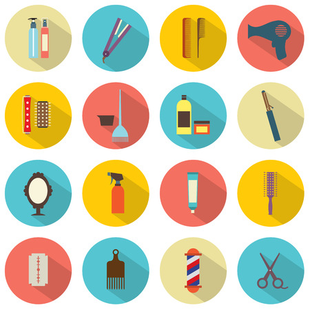 Flat Design Hairdressing Icons Set 16 Illustration