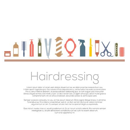 secador de pelo: Peluquería Icons Set Vectores