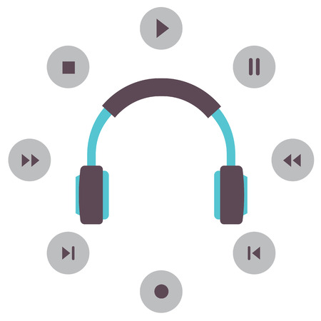 isolation: Headphone With Radio Buttons Vector Illustration Illustration
