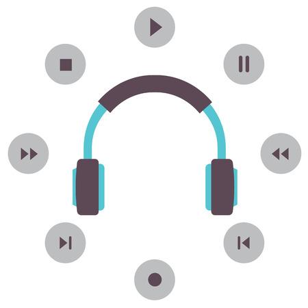 Headphone With Radio Buttons Vector Illustration Illustration