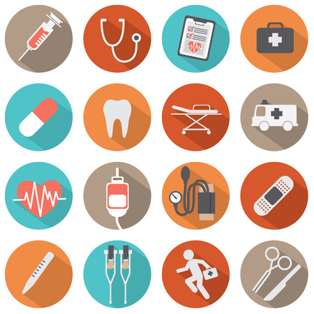 Flat Design Medical icons Vector