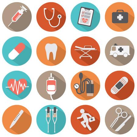 Flat Design Medical icons Illustration
