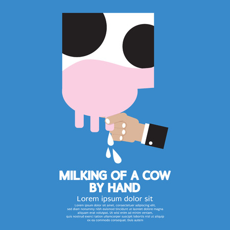 pasteurized: Milking of a Cow Vector Illustration