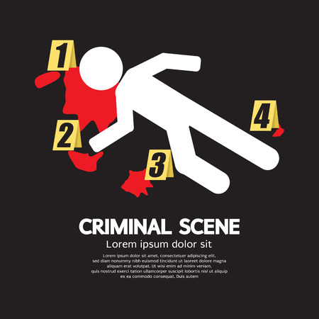 murder scene: Criminal Scene Vector Illustration