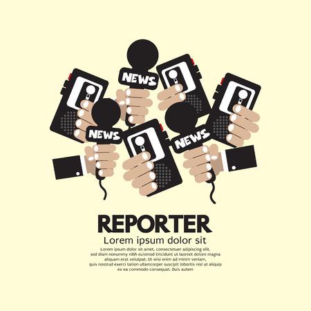 reportero: Ilustración Periodista Concept Vector