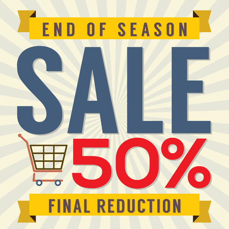 end of summer: End of Season Sale Vintage Vector Illustration