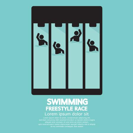 swim race: Swimming Pool Vector Illustration