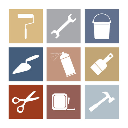 construction tools: Working Tools Icons Set 9