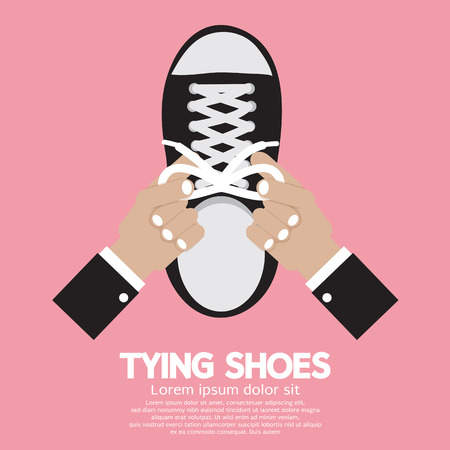 hand knot: Tying Shoes Vector Illustration