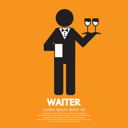 waiter tray: Waiter Vector Illustration Illustration