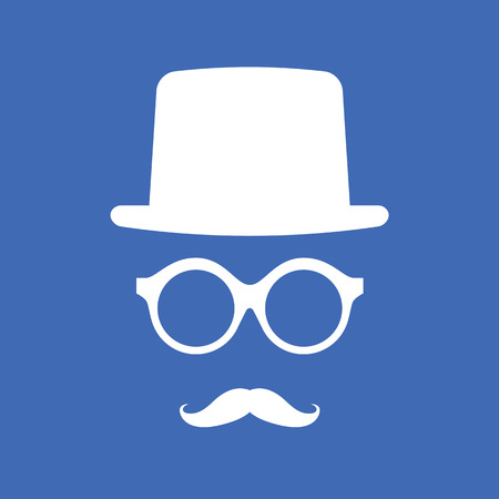 Hat, Eyeglasses and Mustache White Graphic on Blue Background