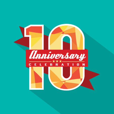 10 Years Anniversary Celebration Design Vector