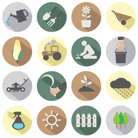 home gardening: Agricultural Equipment Icons Illustration