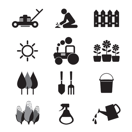 Agricultural Equipment Icons Stock Illustratie