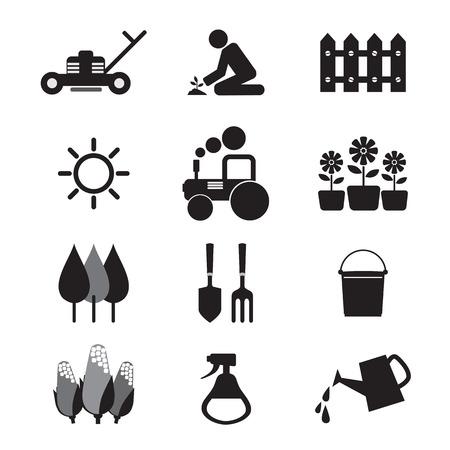 Attrezzature agricole Icons Archivio Fotografico - 28337534