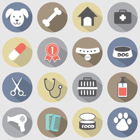 Modern Flat Design Dog Icons Set