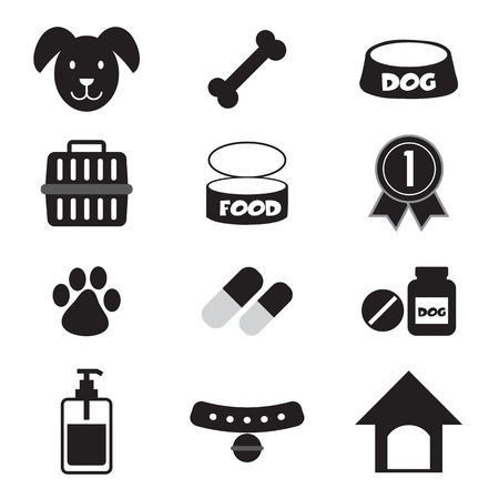 Dog Icons Set Vector Illustration Illustration