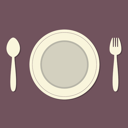 top menu: Empty Plate With Spoon and Fork Vintage Style