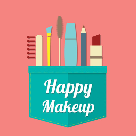 make up products: Happy Beauty Vector Illustration Illustration