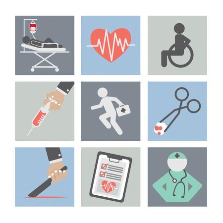 stretcher: Flat Design Medical icons Illustration