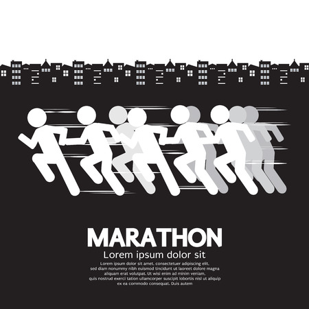 black woman white man: Marathon Runner Sign Vector Illustration