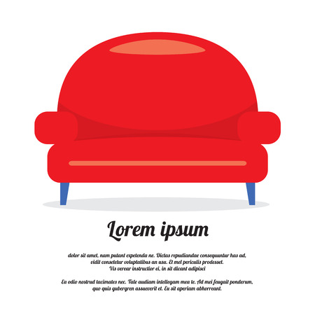 red couch: Vintage Red Sofa Vector Illustration Illustration