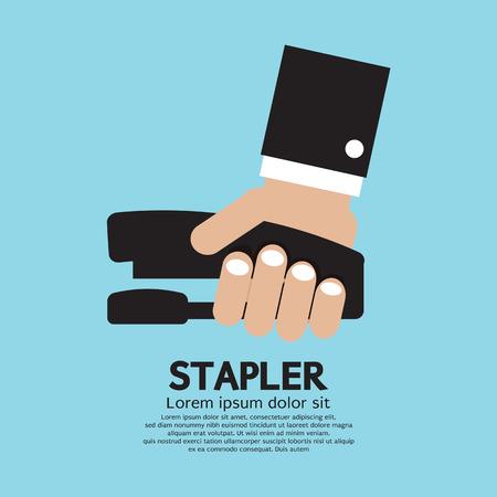 stapling: Hand Holding A Stapler Vector Illustration Illustration