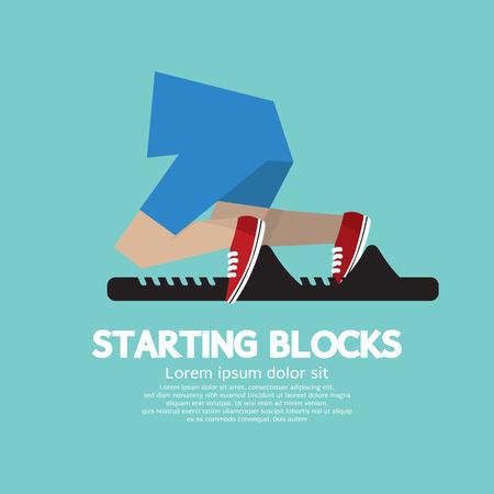 starting: Running Starting Blocks Vector Illustration  Illustration
