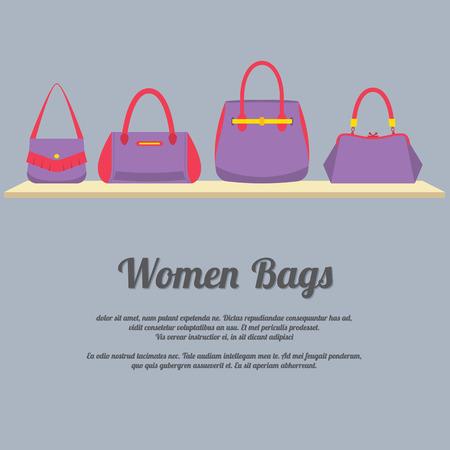 Women Handbags Display On Shelf Vector