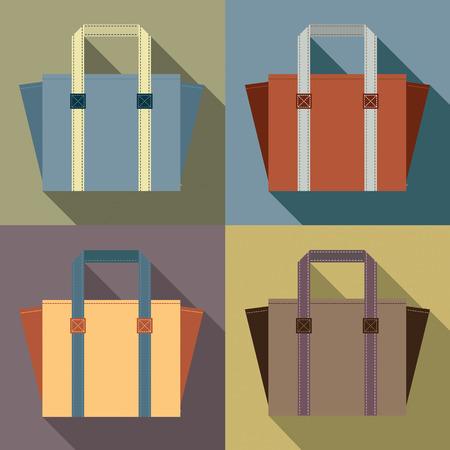 reusable: Flat Design Tote Bags Vector Illustration