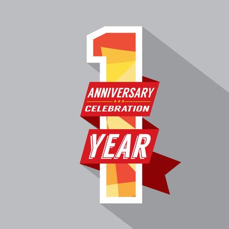 Primer Año del diseño del aniversario Celebración Vectores