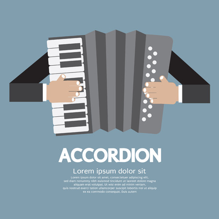 accordion: Vintage Musical Instrument Accordion Vector Illustration Illustration