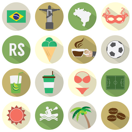 Flat Design Brazil Icons Set Vector