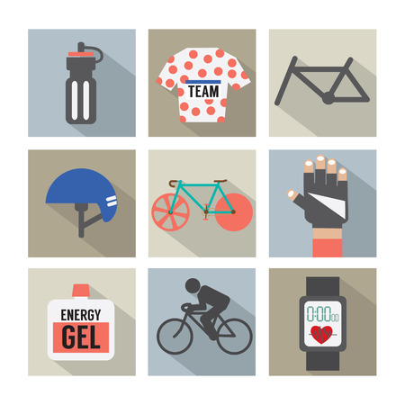 flat tyre: Set of Flat Design Bicycle and Accessories Icons Vector Illustration